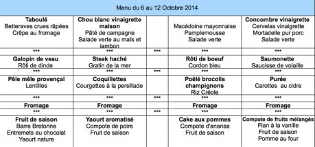 Menu cantine du 6 au 12 oct.